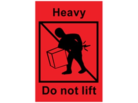 Heavy do not lift shipping label.