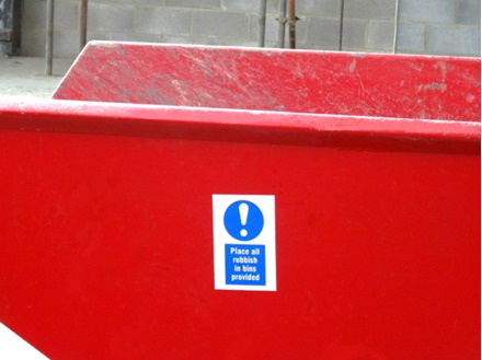 Place all rubbish in bins provided symbol and text safety sign.