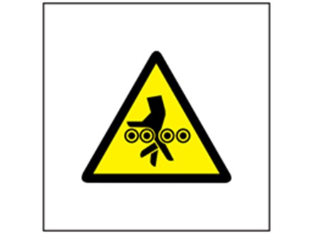 Belt roller hazard symbol safety sign.