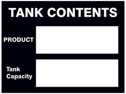 Tank contents sign.