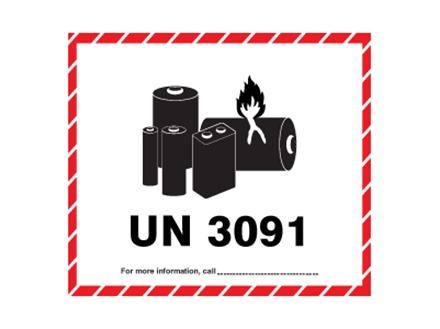 UN3091 lithium metal battery label | HWP1035 | Label Source