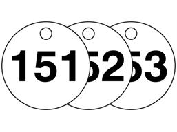 Plastic valve tags, numbered 151-175
