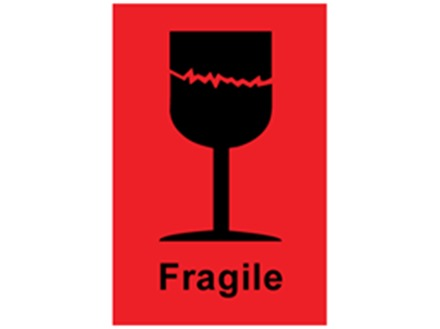 Fragile shipping label.