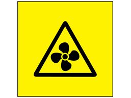 Fan hazard symbol labels.