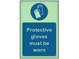 Protective gloves must be worn photoluminescent safety sign