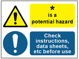 COSHH. Potential hazard, check instructions, data sheets sign.