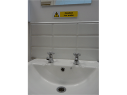 Caution Hot water, mini safety sign.