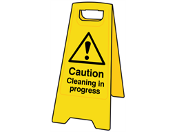 A-board, caution cleaning in progress