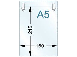 Document pocket, A5 vertical, with clip attachments