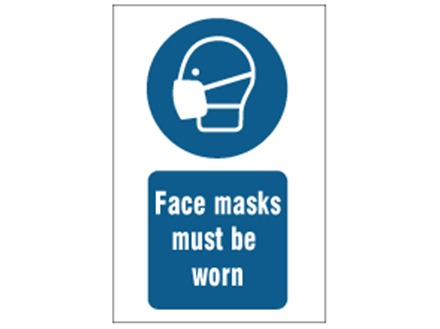 Face masks must be worn safety sign.