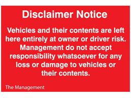 Car Park Disclaimer Notice Sign Ors122 Label Source