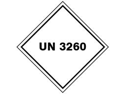UN 3260 (Corrosive solid, acidic, inorganic) label.