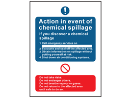 Chemical spill action notice safety sign.