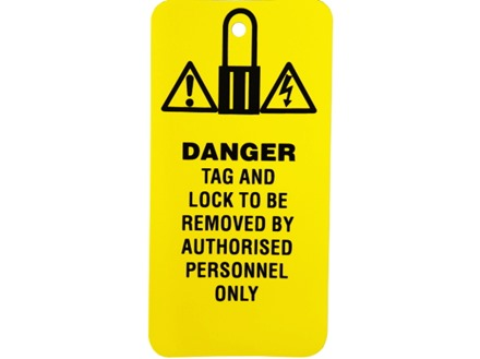 Danger, tag and lock to be removed by authorised personnel only.