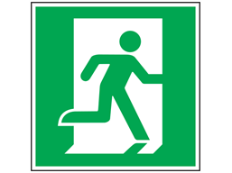 Fire exit symbol safety sign, facing right.