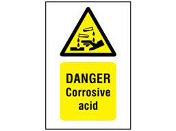 Danger corrosive acid symbol and text safety sign.
