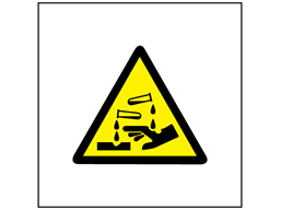 Caution corrosive symbol safety sign.