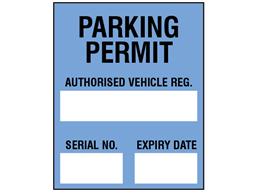 Parking permit label, blue background