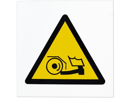 Foot trap hazard symbol safety sign.