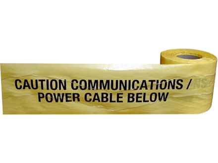 Caution communications power cable below tape.