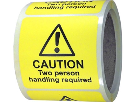 Caution two person handling required label.