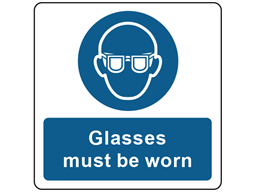 Glasses must be worn symbol and text safety label.