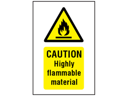 Caution highly flammable material symbol and text safety sign.