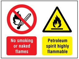 No smoking or naked flames, Petroleum spirit highly flammable safety sign.