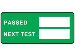Passed next test label equipment label.