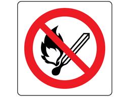 No naked flames symbol label.