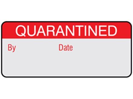 Quarantined aluminium foil labels.