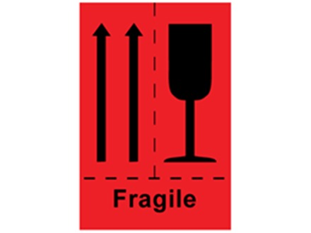 Fragile (combination of pictograms) shipping label.