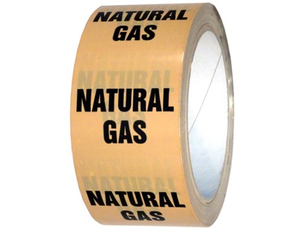 Natural gas pipeline identification tape.