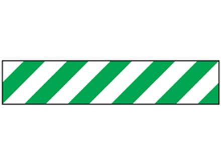 Laminated warning tape, green and white chevron.