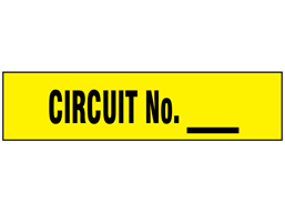 Circuit Number label with write on panel