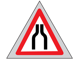 Road ahead narrows on both sides roll up road sign