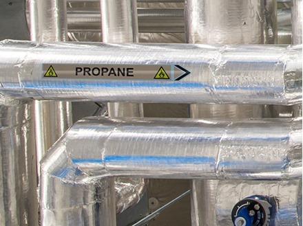 Propane flow marker label.