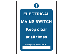 Electrical mains switch safety sign.
