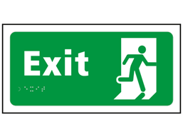 Exit text and symbol sign.