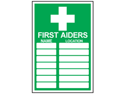 First aiders symbol and text safety sign.