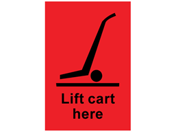 Lift cart here shipping label.