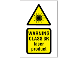 Warning Class 3R laser product symbol and text safety sign.