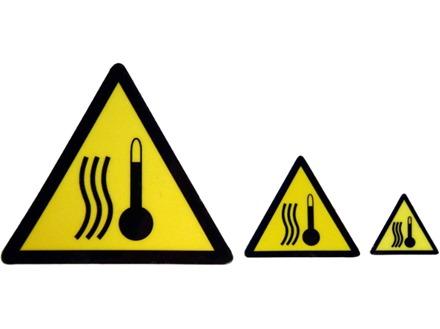 High temperature hazard warning symbol label.