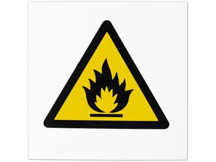 Risk of fire hazard symbol safety sign.