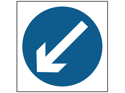 Keep left temporary road sign.