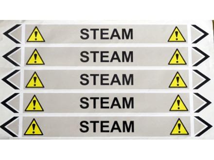 Steam flow marker label.
