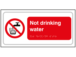 Not drinking water text and symbol sign.