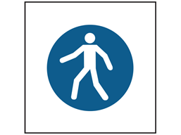 Pedestrian route symbol safety sign.