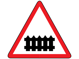 Level crossing with barrier or gate ahead sign
