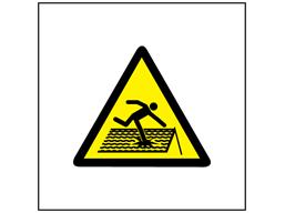 Risk of fragile roof symbol safety sign.